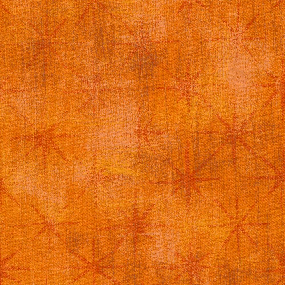 Tonal grunge textured orange fabric with dark orange stars   Shabby Fabrics