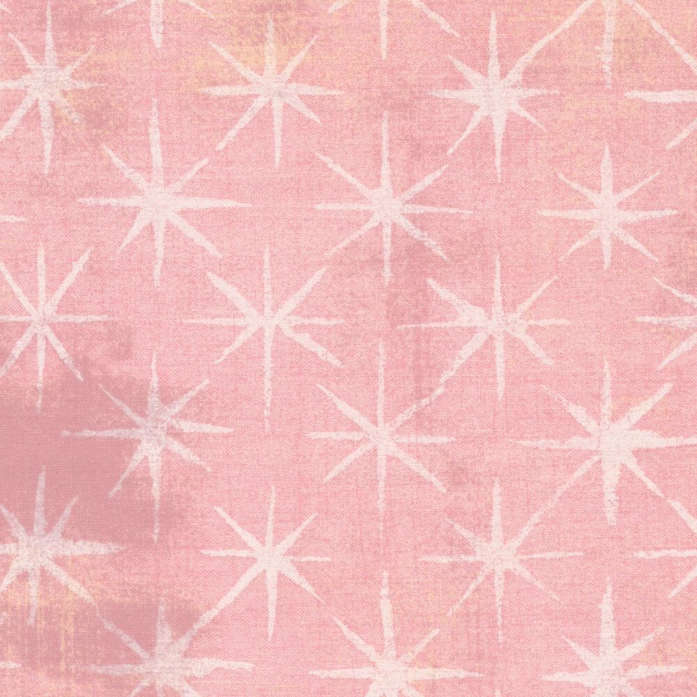 Pink grunge fabric with white stars   Shabby Fabrics