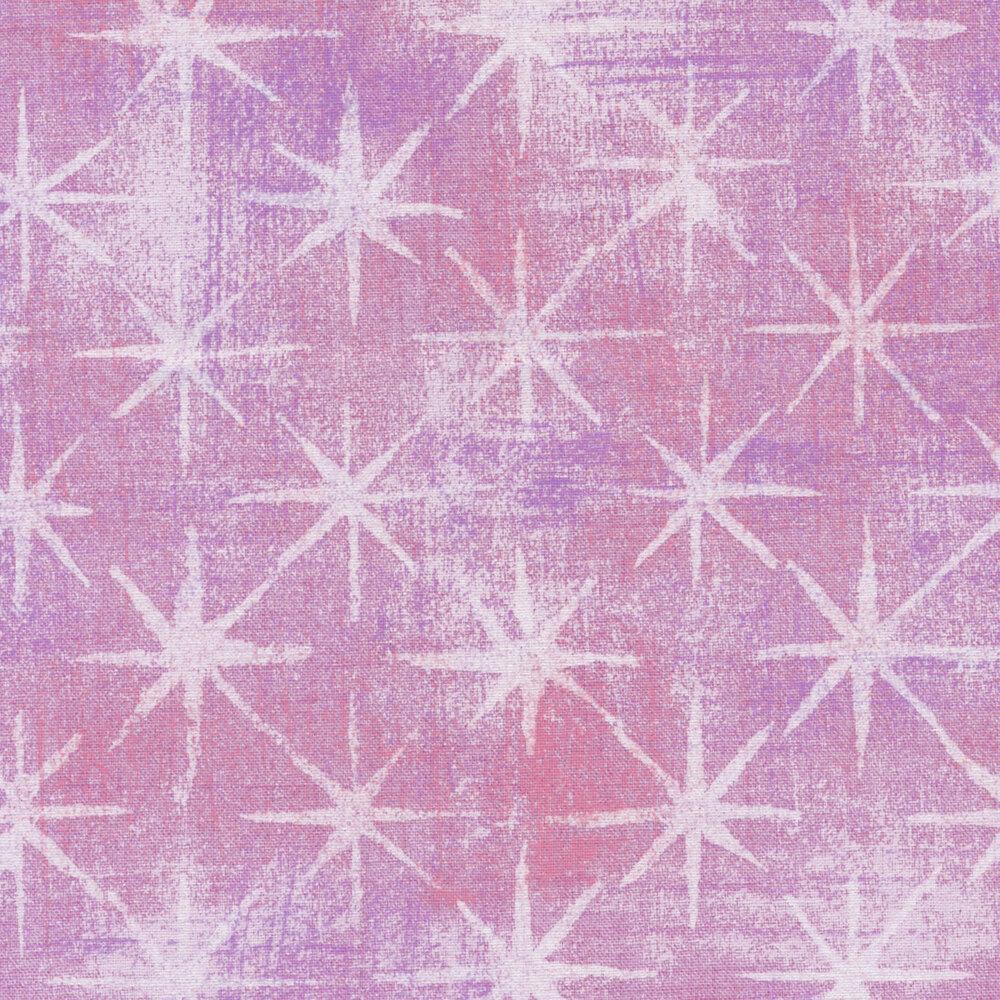 Purple grunge texture fabric with white stars | Shabby Fabrics