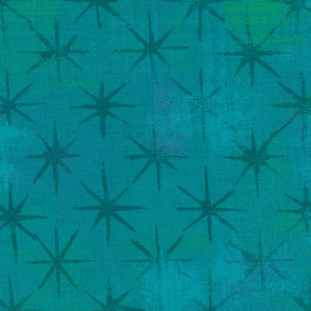 A turquoise and teal mottled fabric with grunge stars | Shabby Fabrics