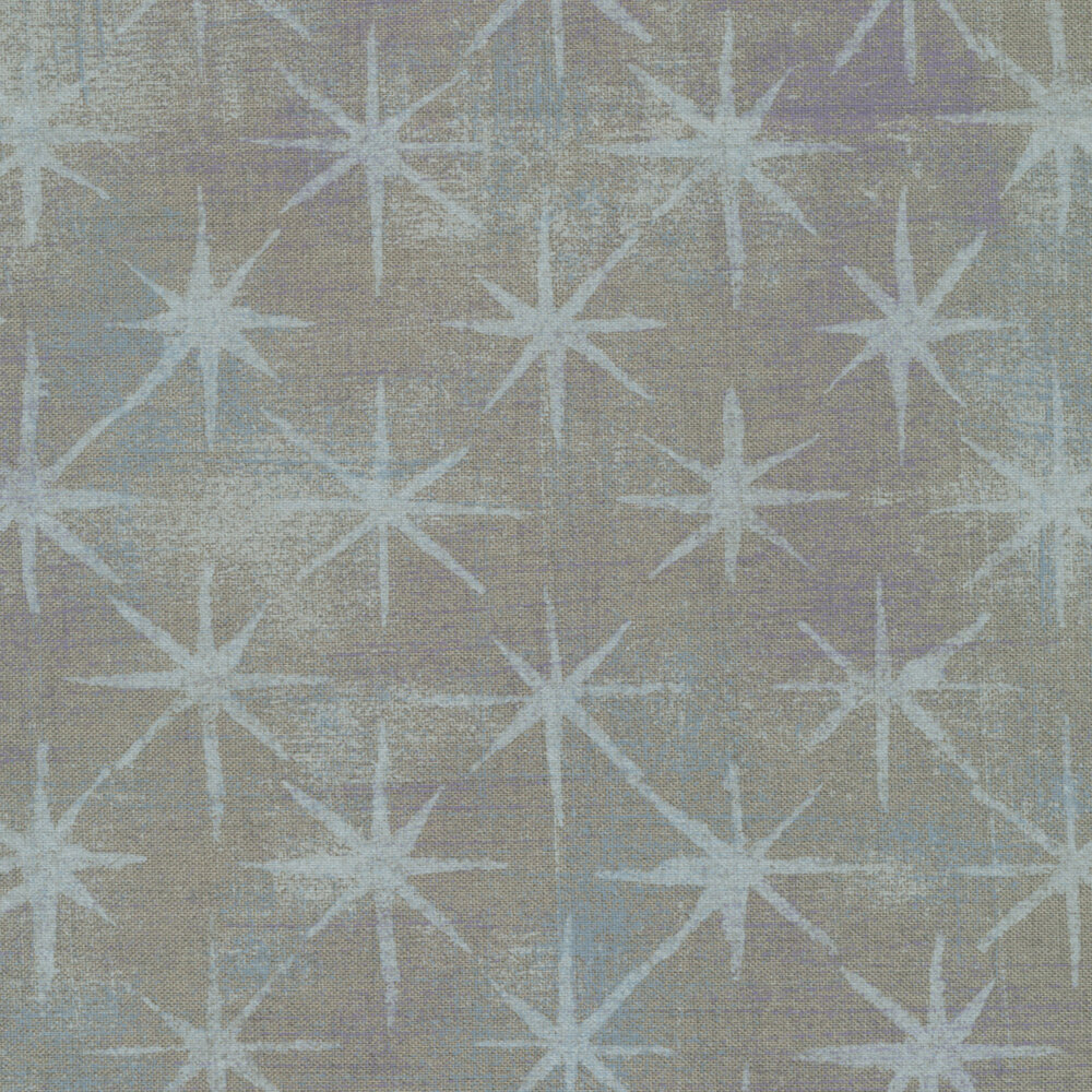 Beautiful grey textured grunge print with light blue grey stars | Shabby Fabrics