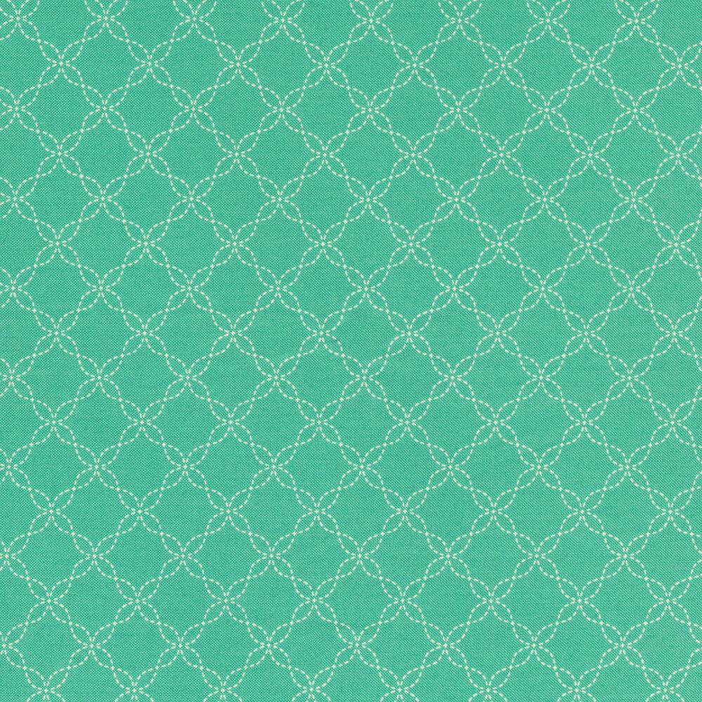 White lattice design on teal | Shabby Fabrics