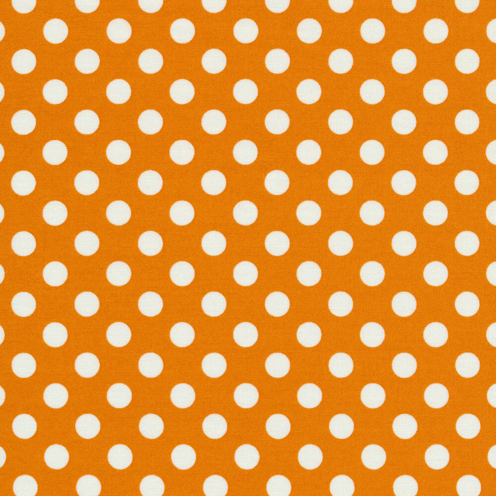 White polka dots on orange | Shabby Fabrics