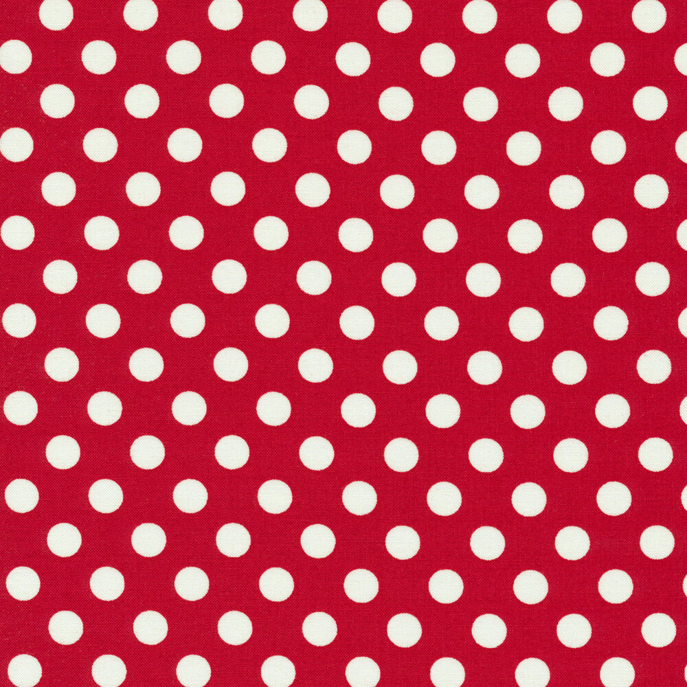 White polka dots on red | Shabby Fabrics