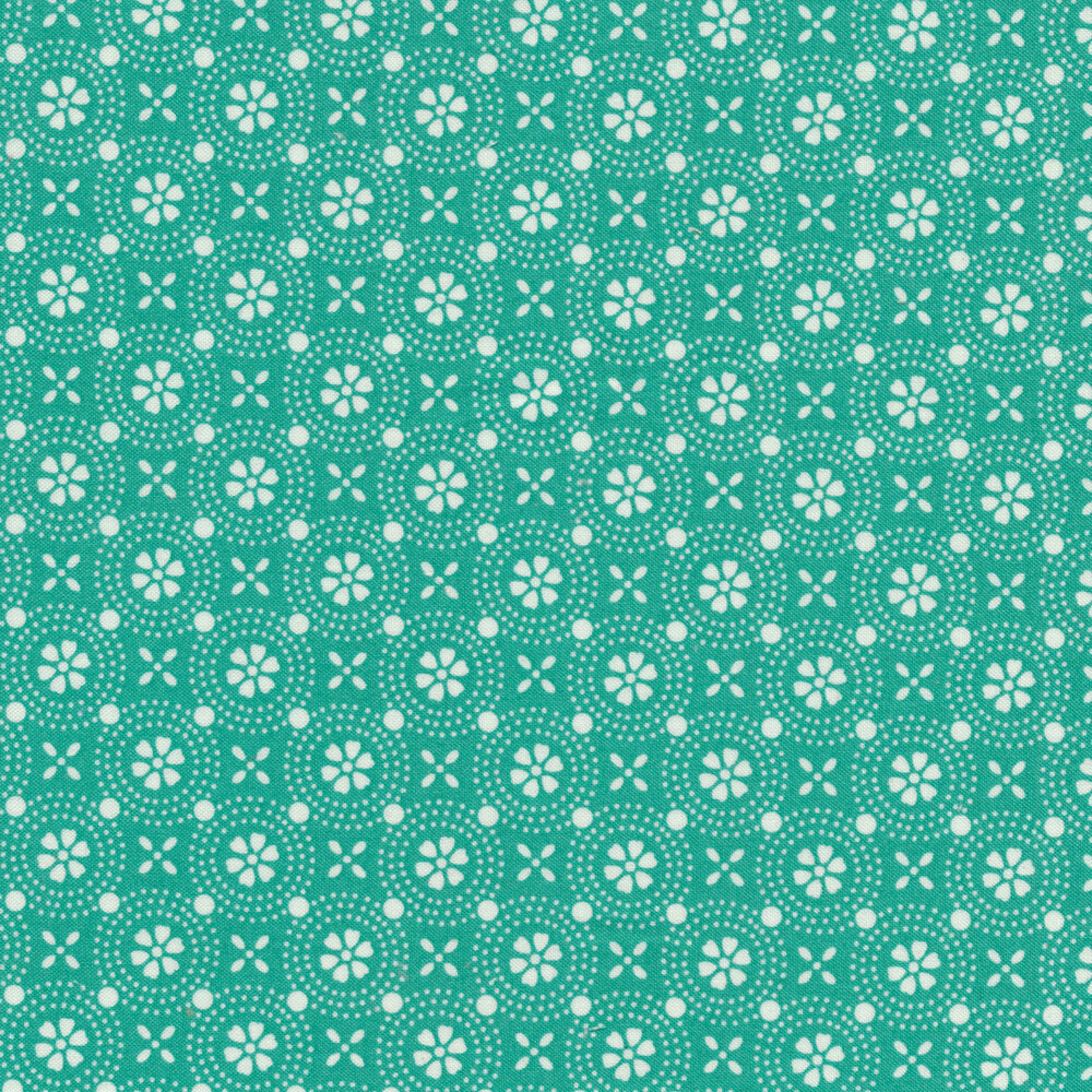 White and teal floral medallion fabric | Shabby Fabrics