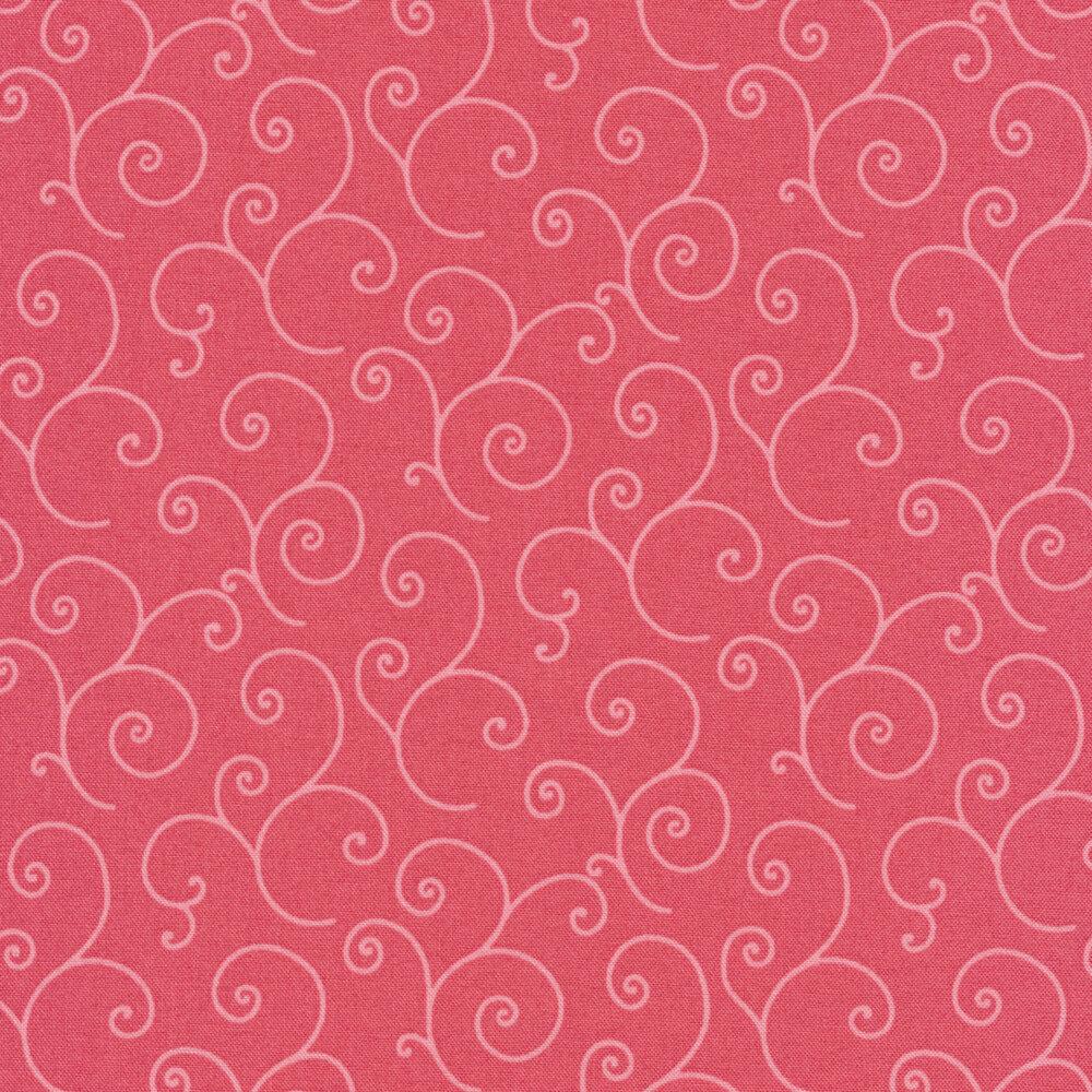 Tonal pink scrolls on pink | Shabby Fabrics