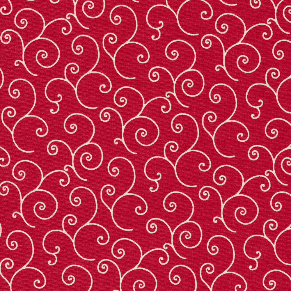 White scrolls on red | Shabby Fabrics