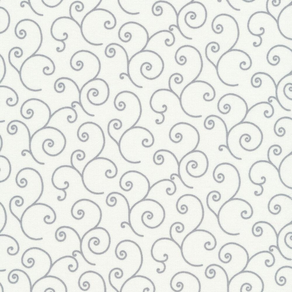 Gray scrolls all over white   Shabby Fabrics