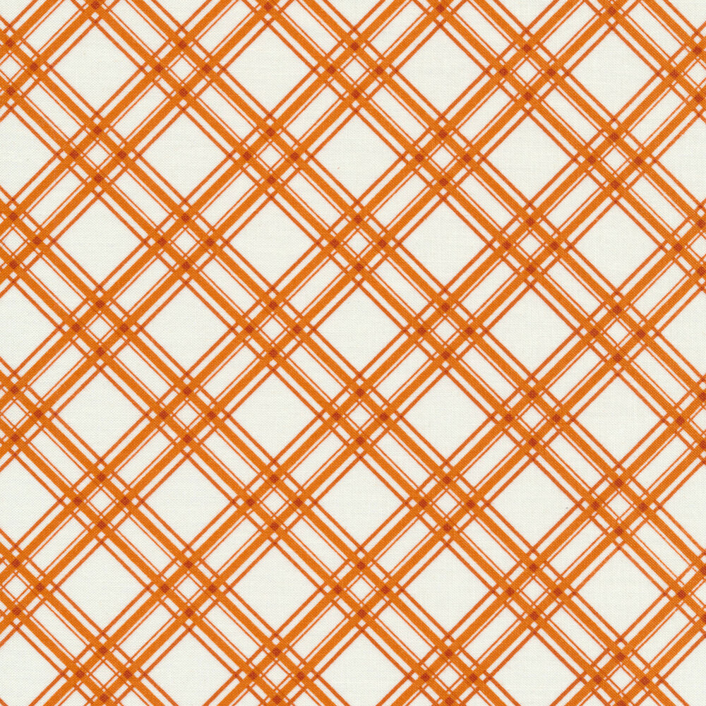 Orange diagonal plaid design on white   Shabby Fabrics