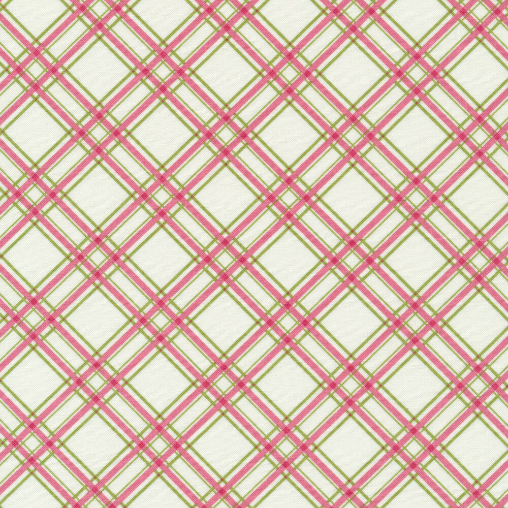Pink and green diagonal plaid design on white | Shabby Fabrics