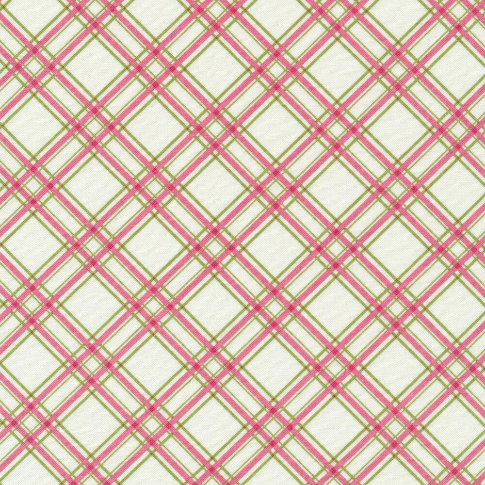 Pink and green diagonal plaid design on white | Shabby Fabrics