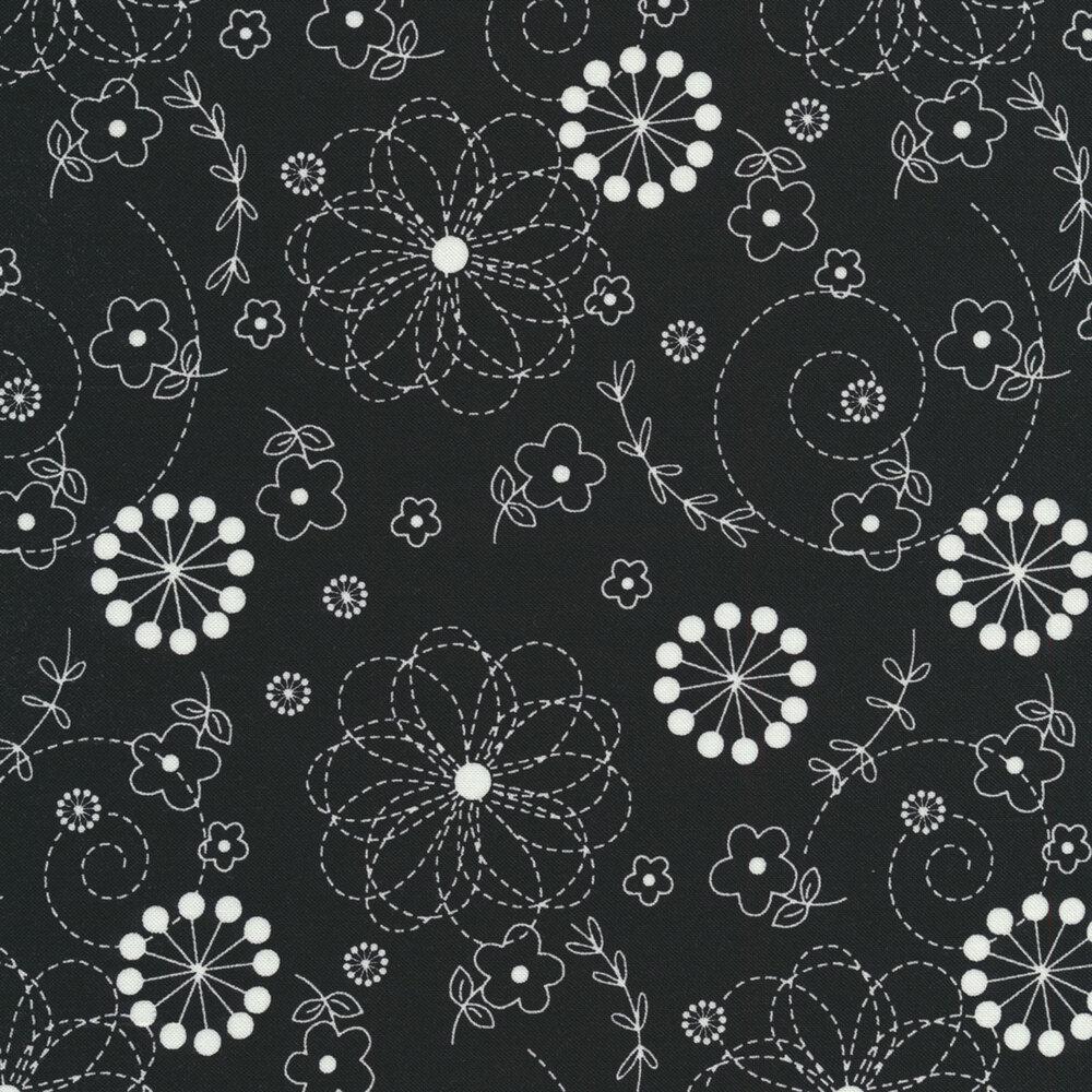 White flowers on black   Shabby Fabrics
