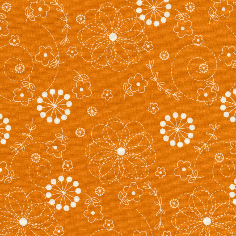 White flowers on orange | Shabby Fabrics