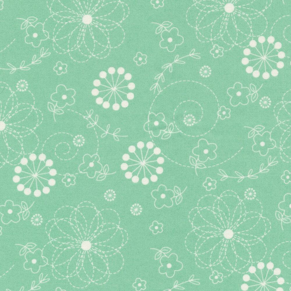 White flowers on teal | Shabby Fabrics