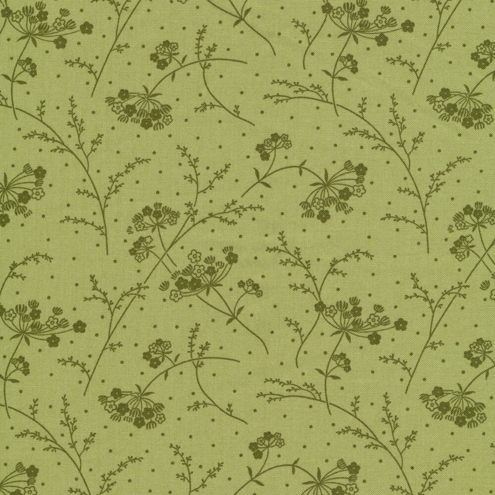 Tonal green Queen Anne's Lace design | Shabby Fabrics