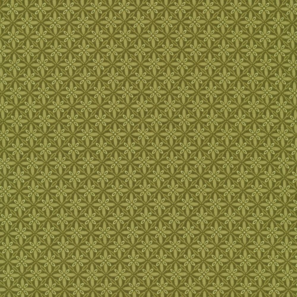 Tonal green geometric star fabric | Shabby Fabrics