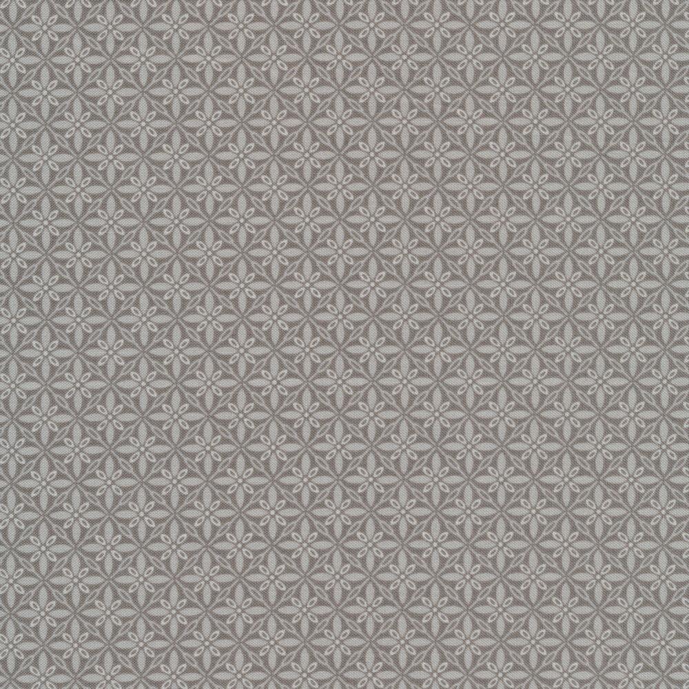 Tonal gray geometric star fabric | Shabby Fabrics