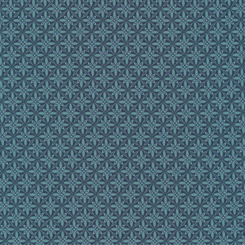 Tonal blue geometric star fabric | Shabby Fabrics