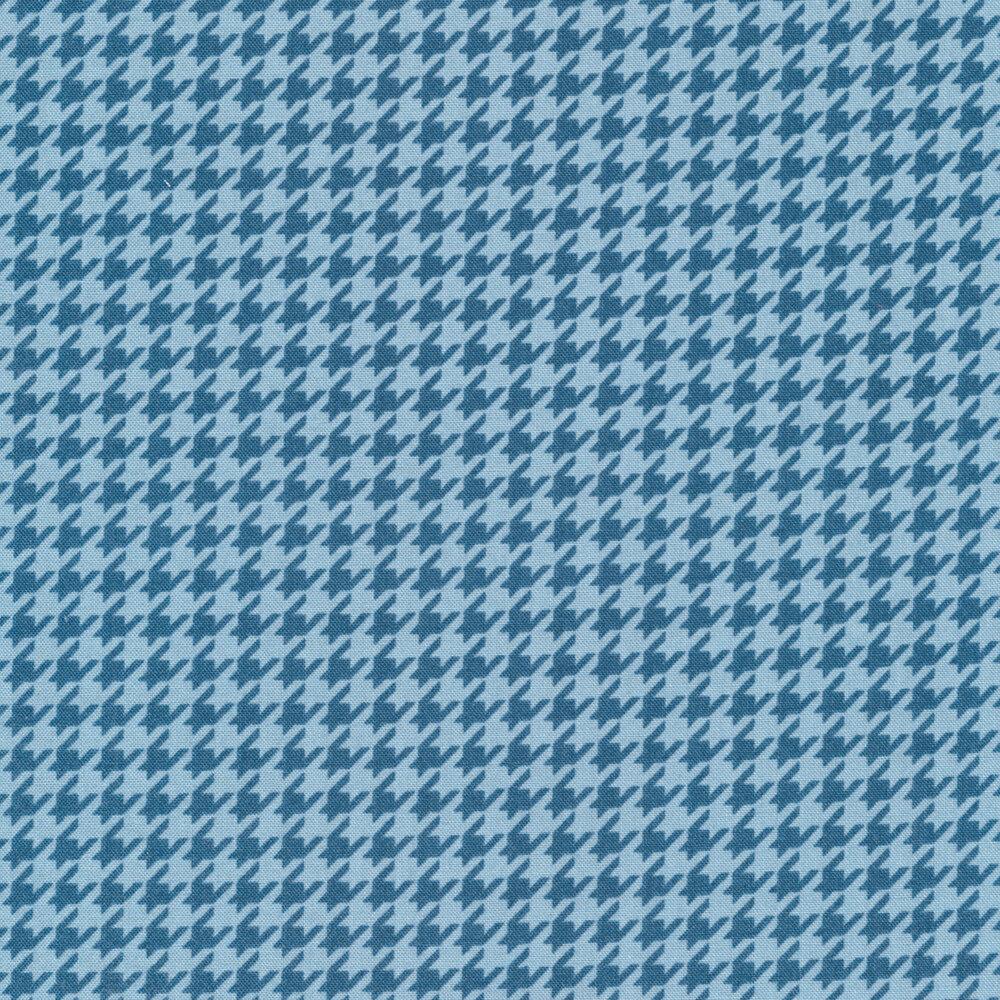 Tonal blue houndstooth | Shabby Fabrics
