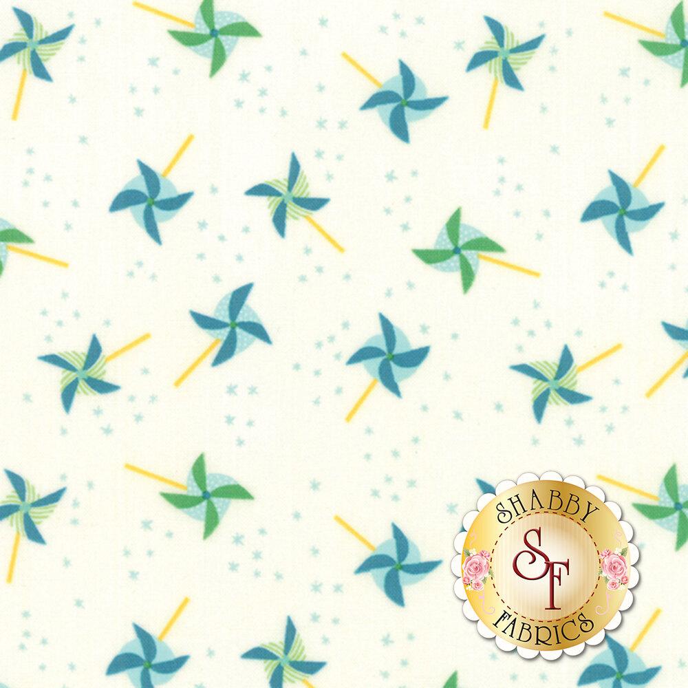 Best Friends Forever 20625-23 White Aqua by Stacy Iest Hsu for Moda Fabrics