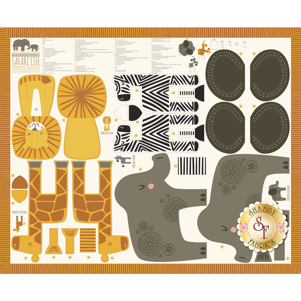 Panel fabric featuring giraffes, zebras, and elephants to make stuffed animals | Shabby Fabrics