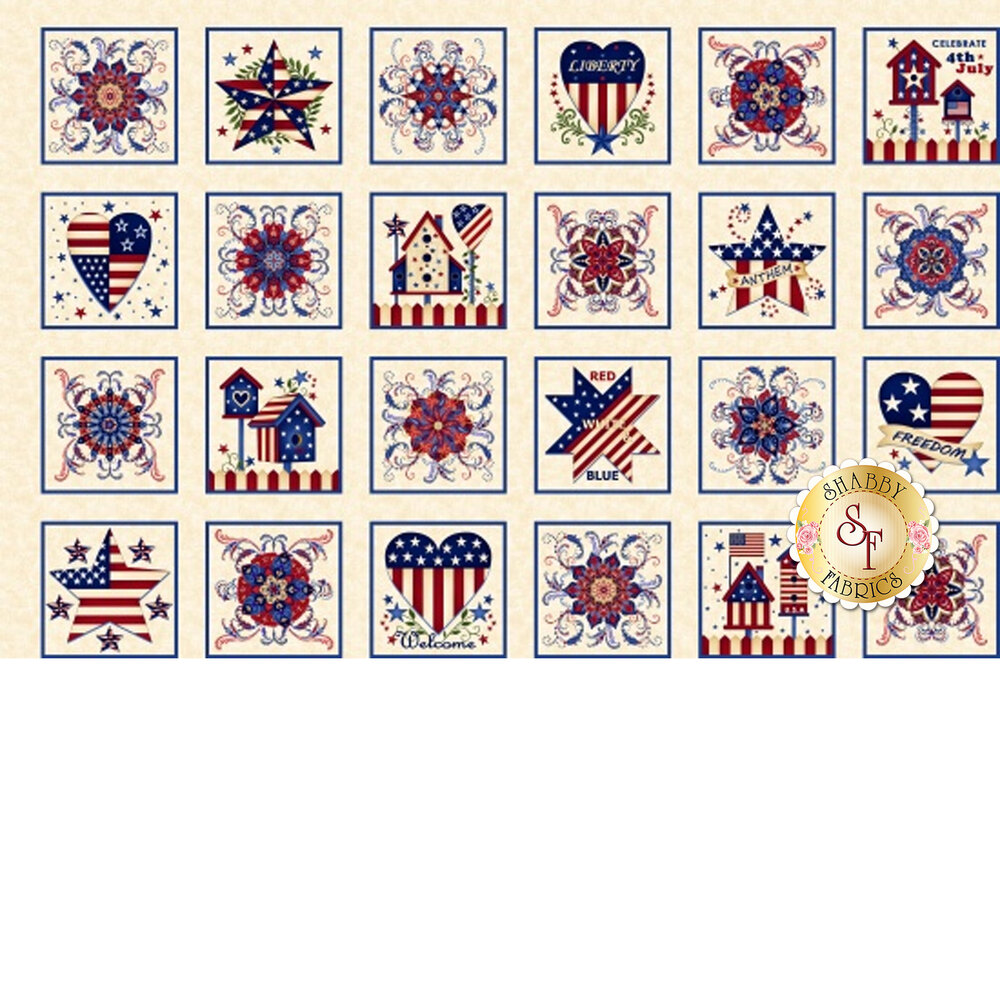 Land That I Love 2257-33 Cream Blocks Patriotic from Henry Glass Fabrics by Color Principle