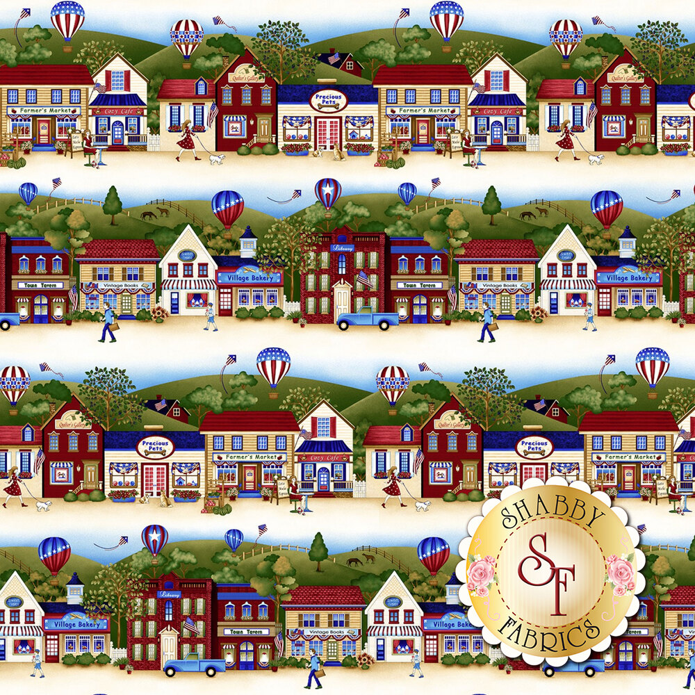 Land That I Love  2259-33 Cream Patriotic Border Stripe from Henry Glass Fabrics by Color Principle