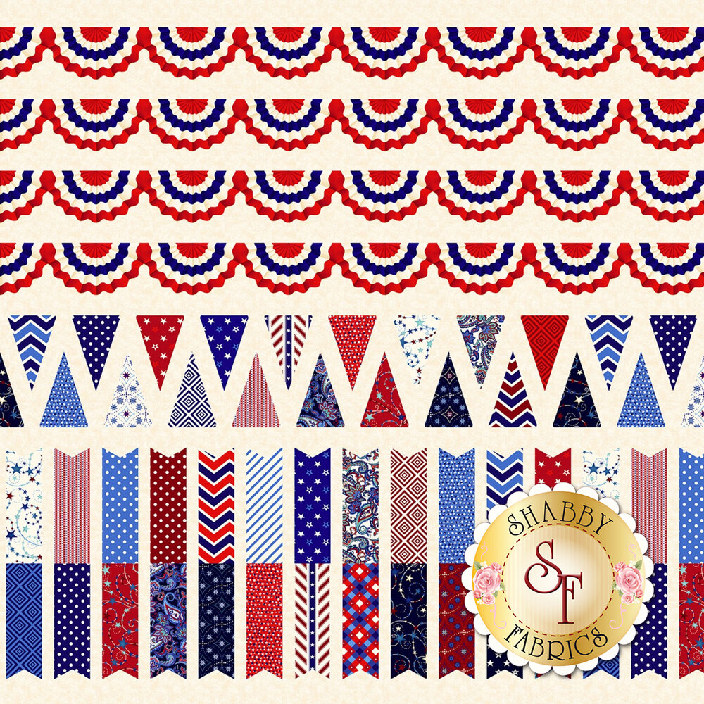 Land That I Love 2260-33 Cream Bunting Stripes from Henry Glass Fabrics by Color Principle