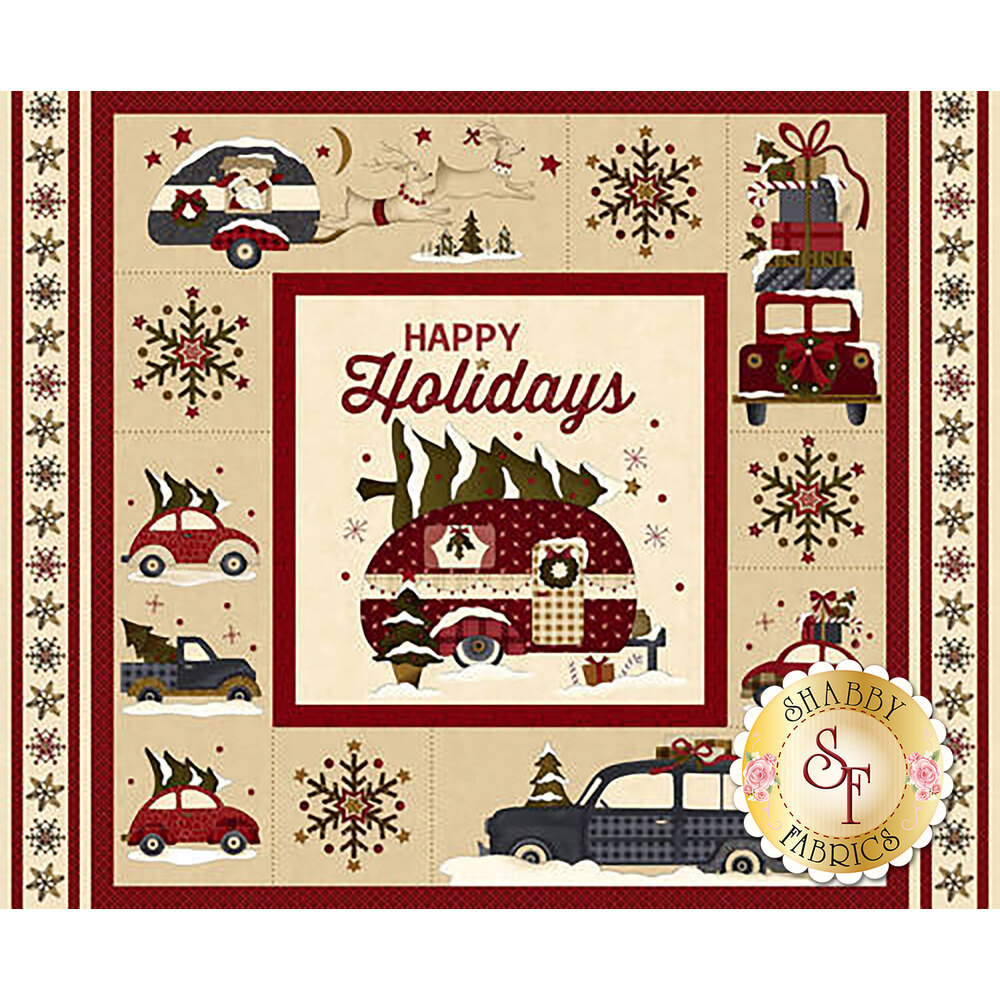 Beautiful panel featuring vintage trucks and campers during winter | Shabby Fabrics