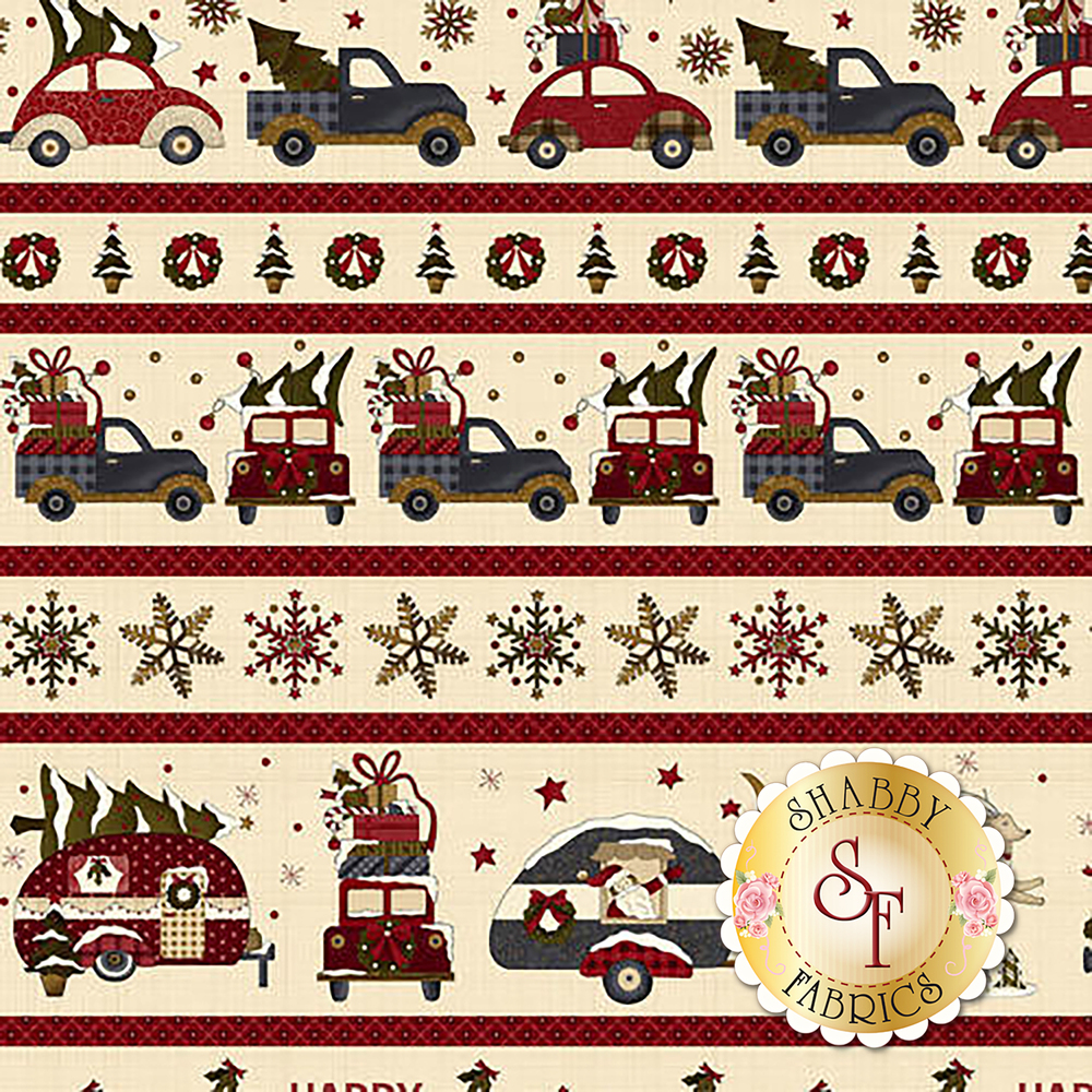 A border print featuring vintage trucks and snowflakes | Shabby Fabrics