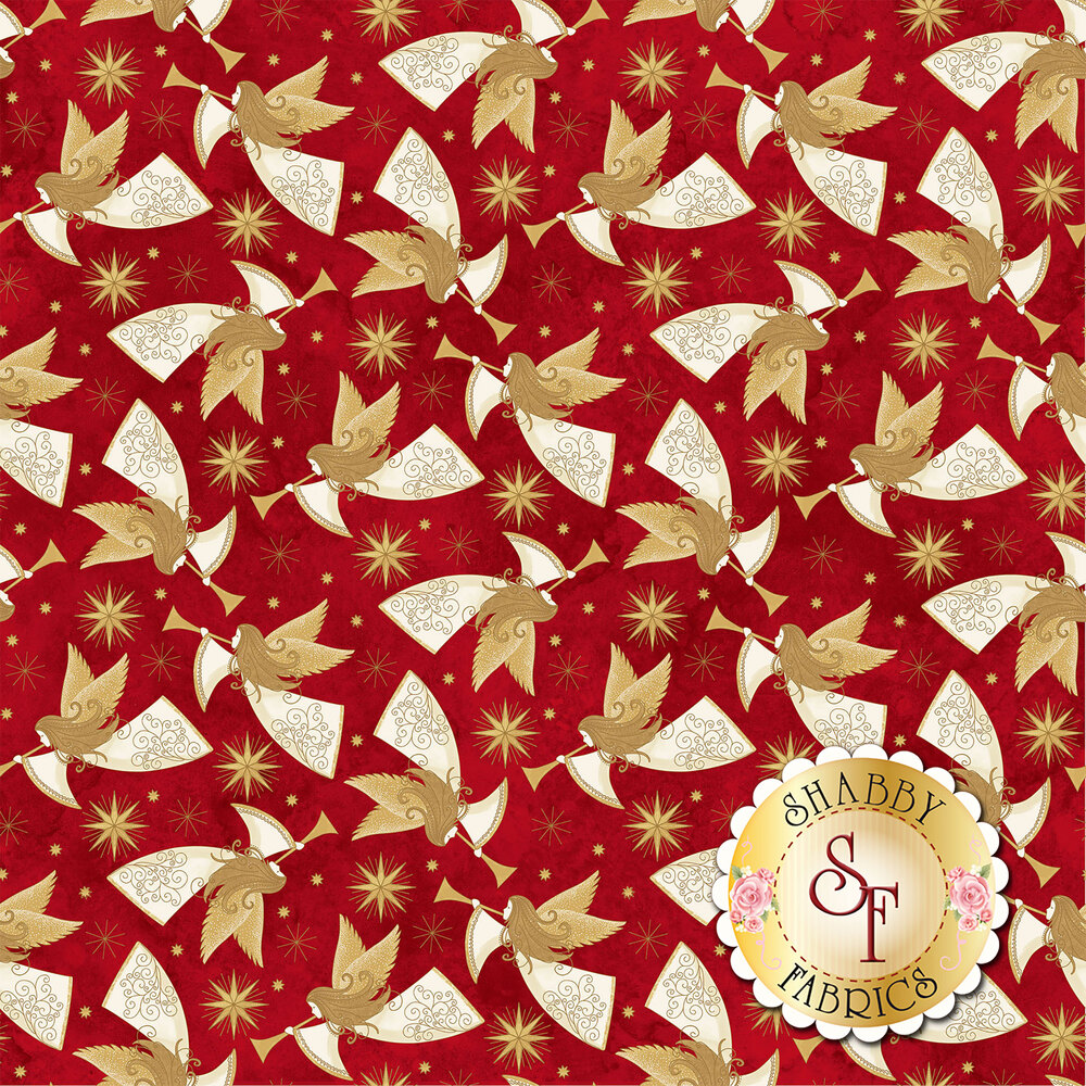 Gold angels all over red   Shabby Fabrics
