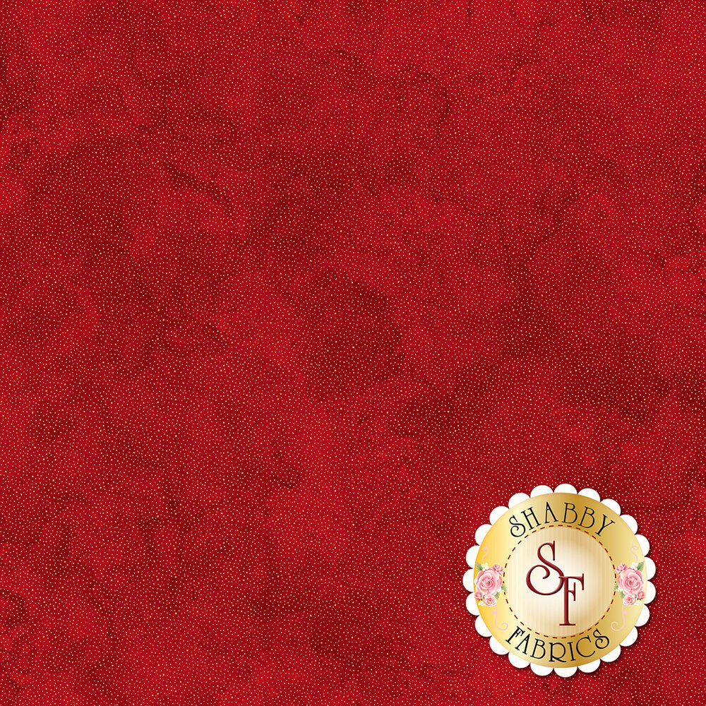 Tiny gold dots all over mottled red | Shabby Fabrics
