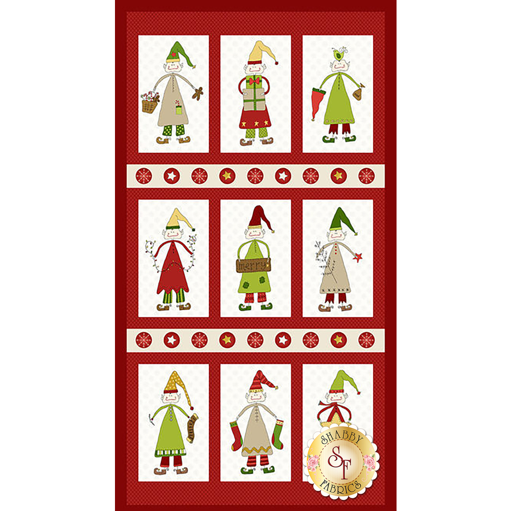 Quilt panel with 9 blocks, each featuring an elf | Shabby Fabrics