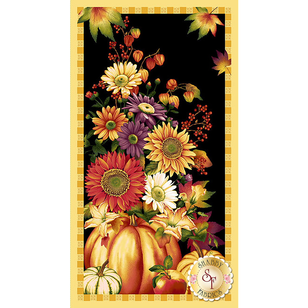 A panel with pumpkins and autumn flowers on a black background