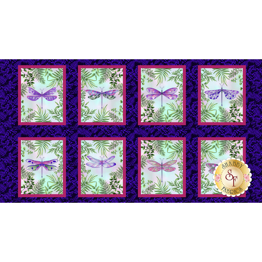 Dragonfly blocks on purple background | Shabby Fabrics