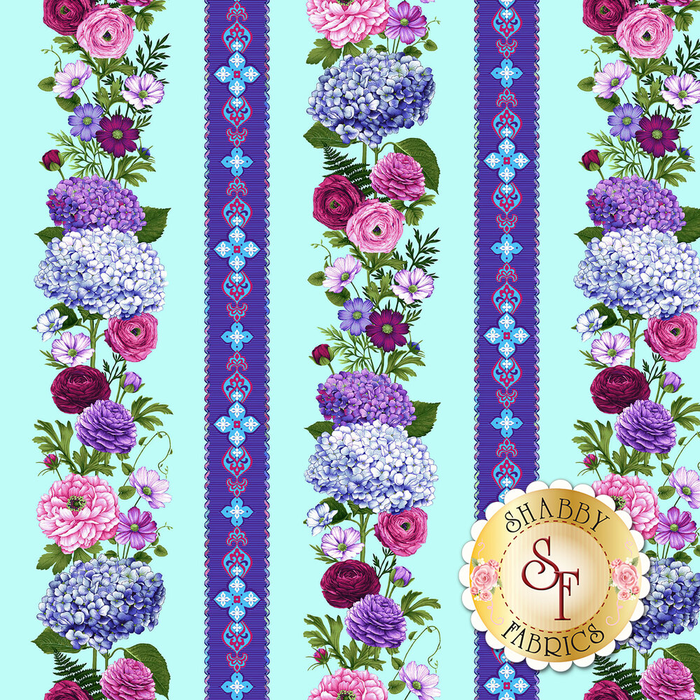Pink and purple floral border stripe on light blue | Shabby Fabrics