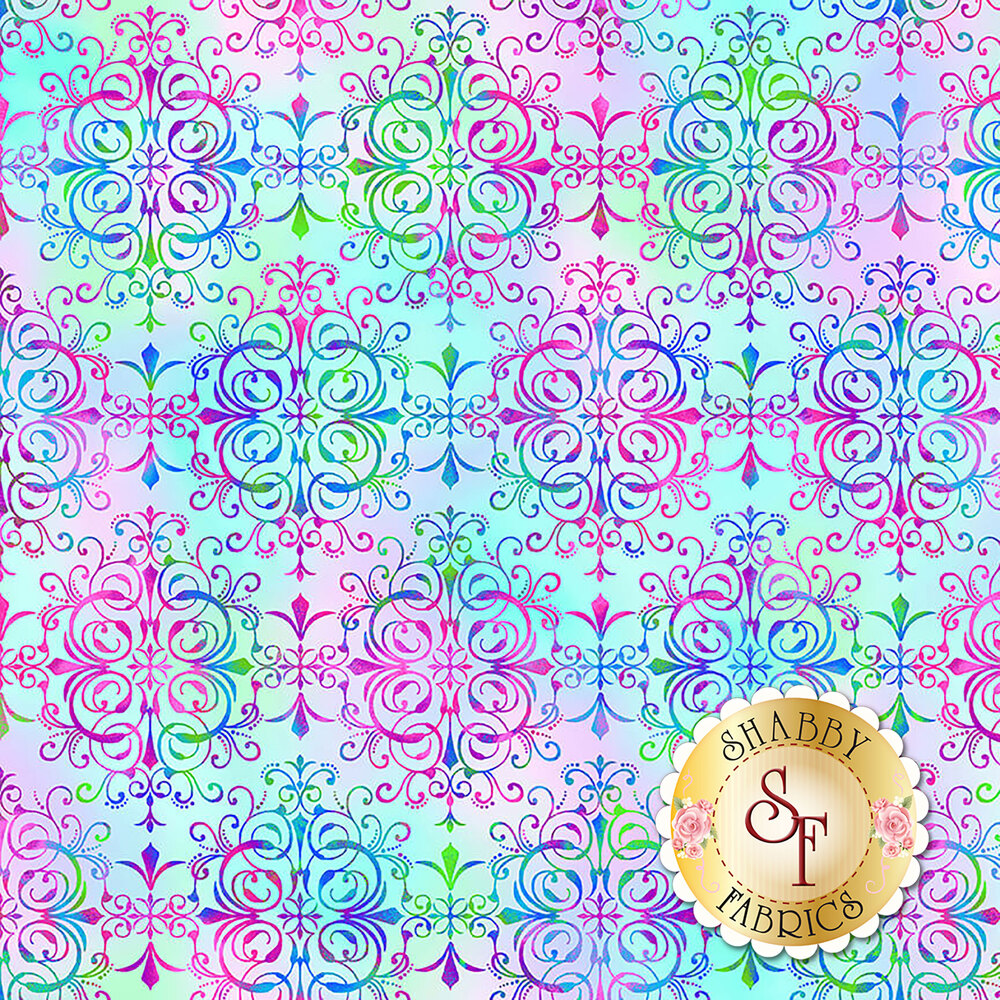 Multicolored medallion design on pastel blue/pink | Shabby Fabrics