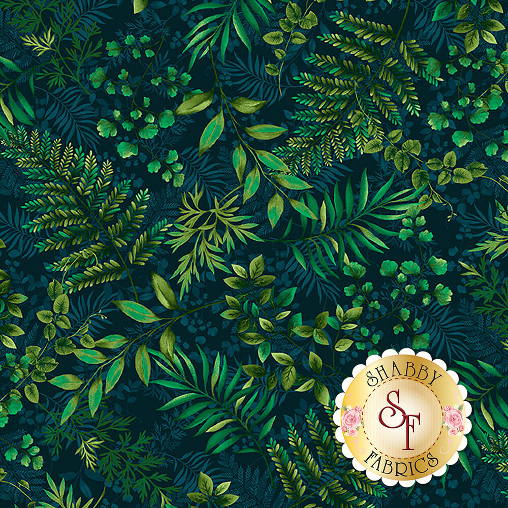 Tossed tonal green ferns | Shabby Fabrics