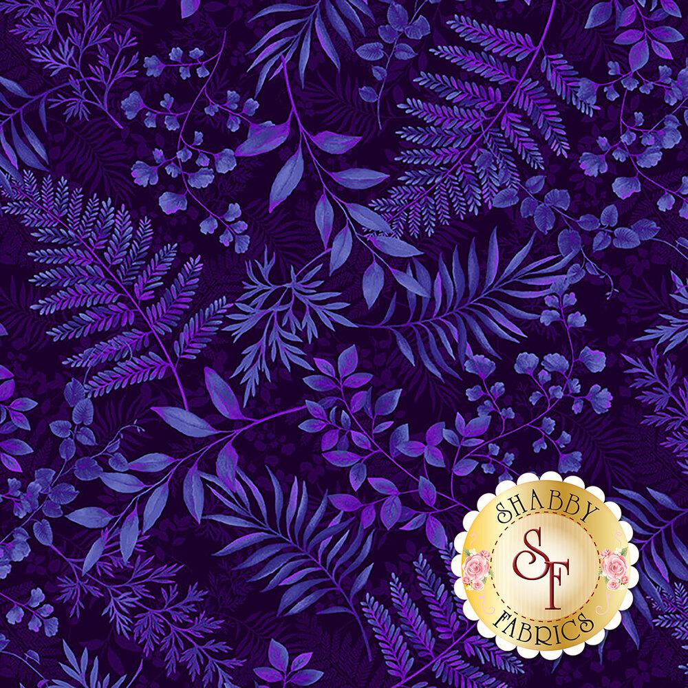 Tossed tonal royal purple ferns | Shabby Fabrics