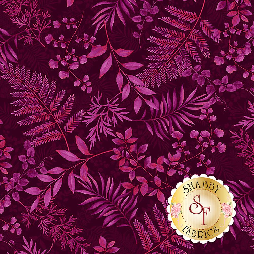 Tossed tonal burgundy ferns | Shabby Fabrics
