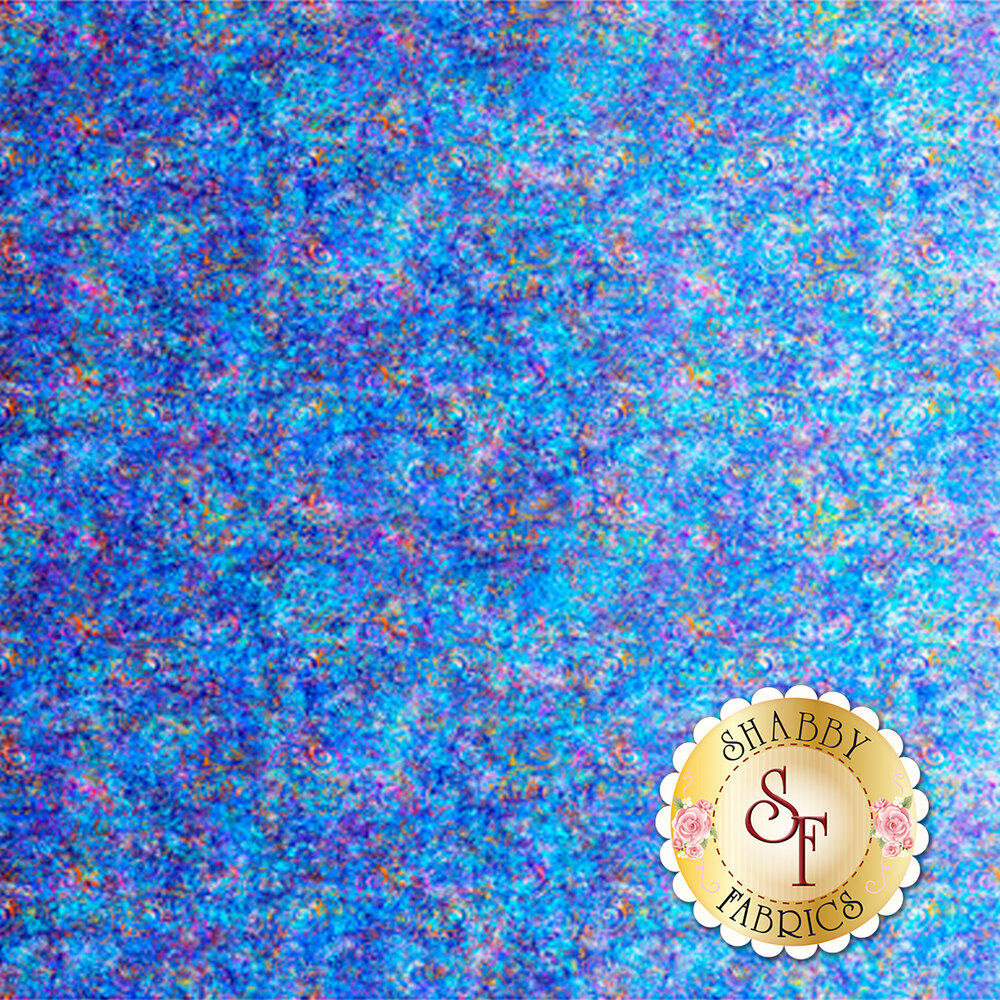 Blue ombre fabric with scroll medallion designs | Shabby Fabrics
