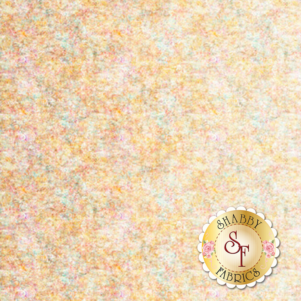 Cream ombre fabric with scroll medallion designs | Shabby Fabrics