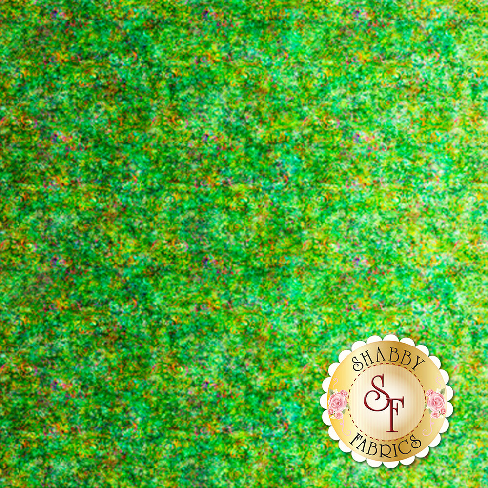 Green ombre fabric with scroll medallion designs | Shabby Fabrics