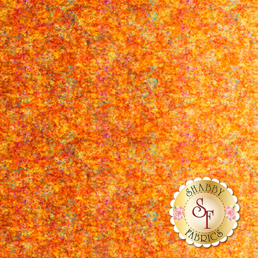 Orange ombre fabric with scroll medallion designs | Shabby Fabrics