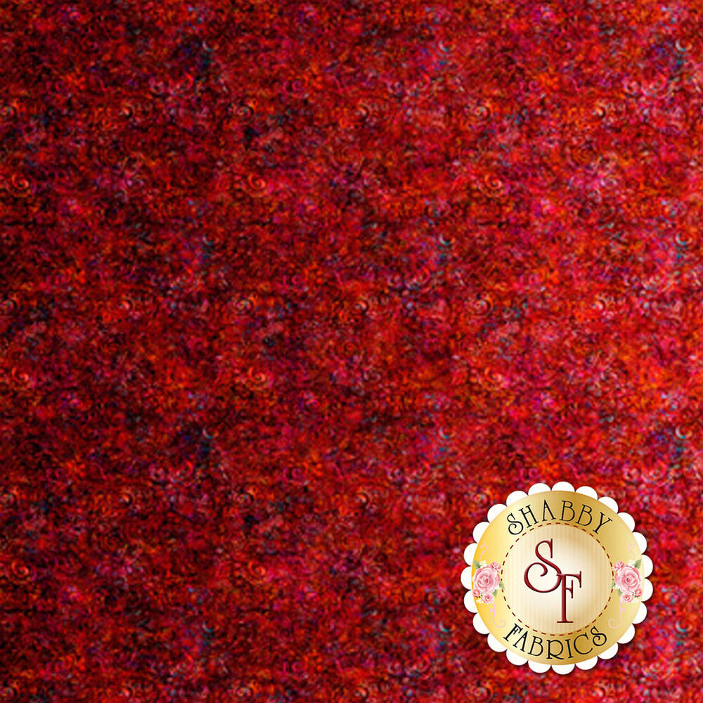 Brick red ombre fabric with scroll medallion designs | Shabby Fabrics