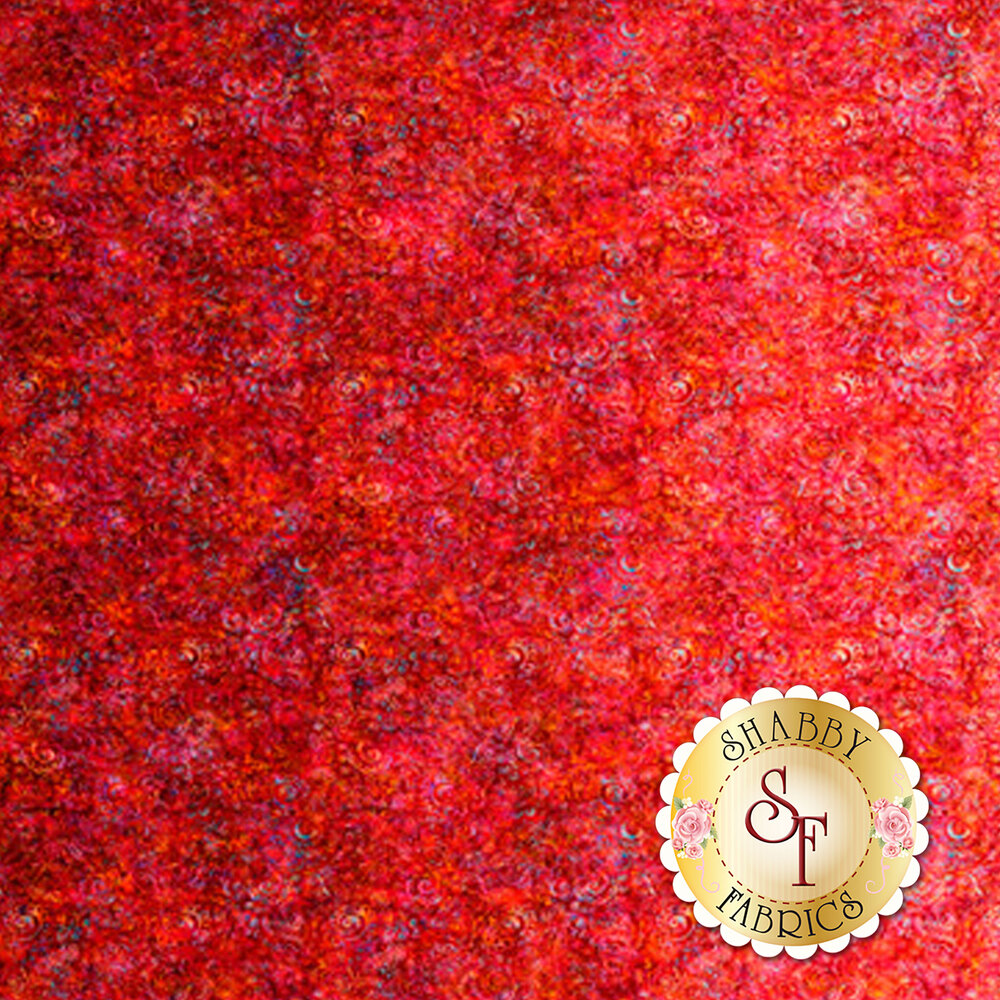 Light red ombre fabric with scroll medallion designs | Shabby Fabrics