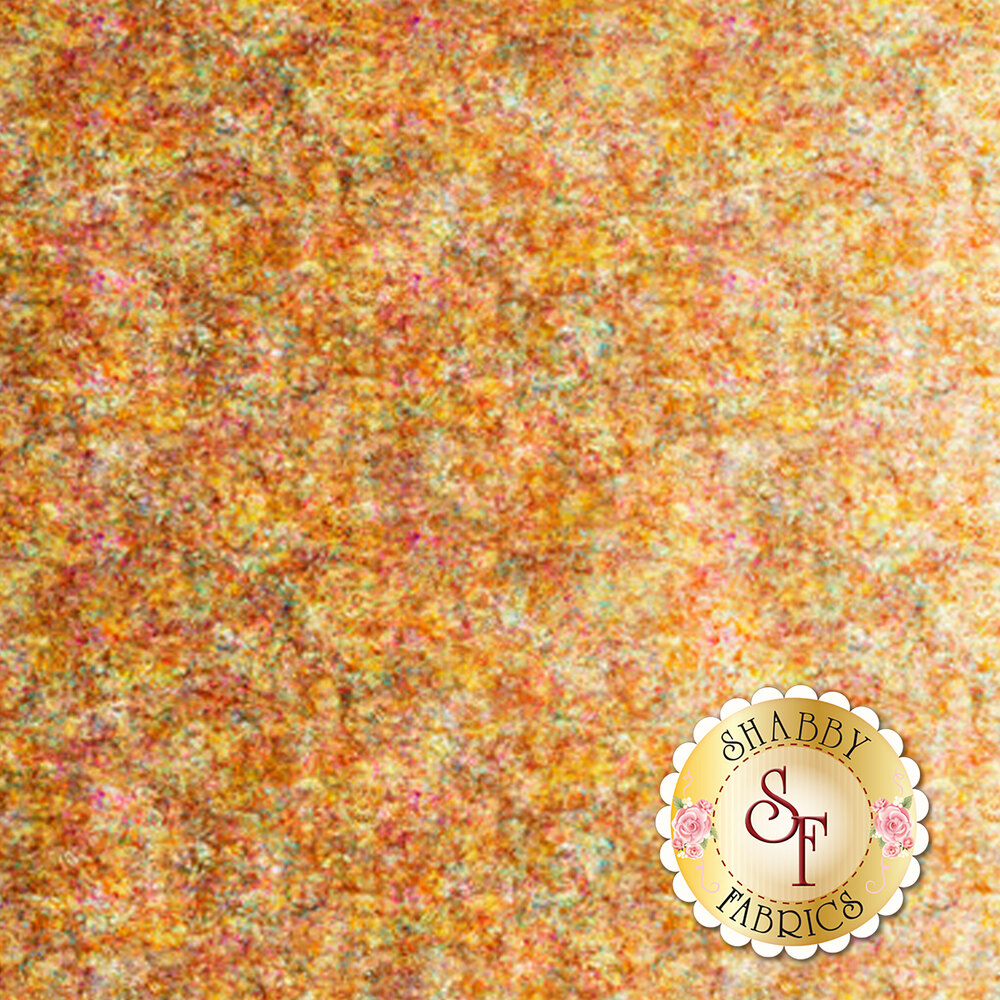 Honey colored ombre fabric with scroll medallion designs | Shabby Fabrics