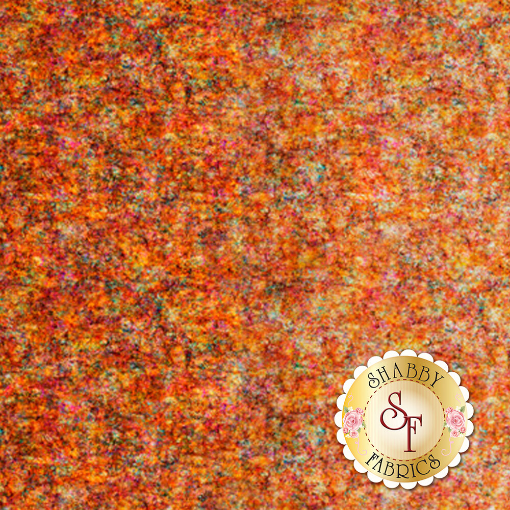 Harvest orange fabric with scroll medallion designs | Shabby Fabrics
