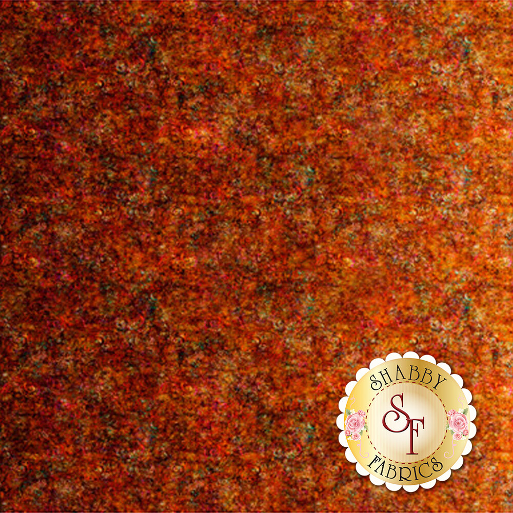 Rust orange fabric with scroll medallion designs | Shabby Fabrics
