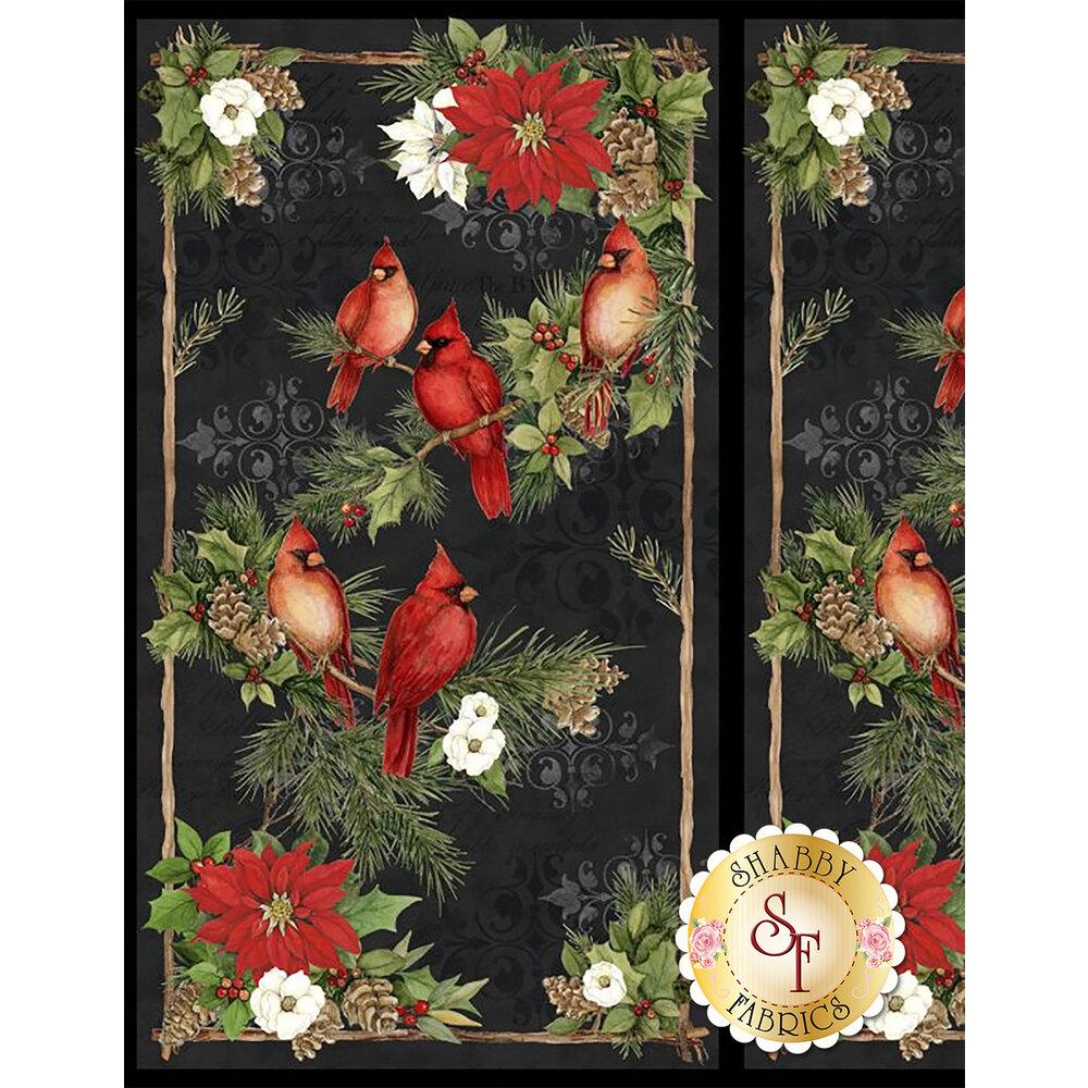 Black panel fabric featuring birds and Christmas foliage   Shabby Fabrics